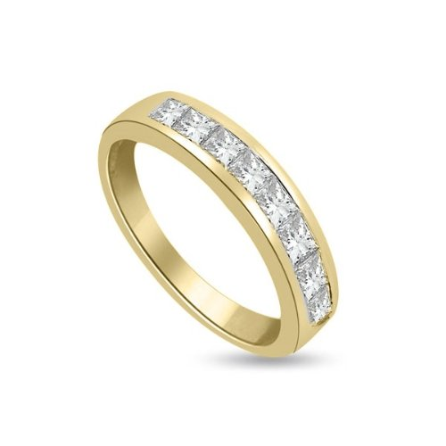 0.45ct G/VS1 Diamond Half Eternity Ring for Women with Princess Cut diamonds in 18ct Yellow Gold