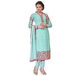 Momai Creation Women's Faux Georgette Ferozi Unstitched Dress Material (MCV-Prachi-1008)