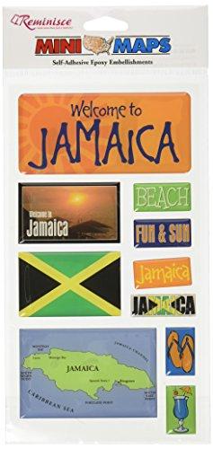 Reminisce Mini Maps Self-Adhesive Epoxy Embellishments 10 Per Package, Jamaica