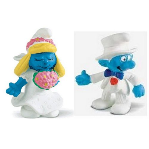Picture of Bundles of Fun Bride & Groom Smurf Figures Bundle of 2 Items plus a * (B0050R8X52) (Bundles of Fun Action Figures)