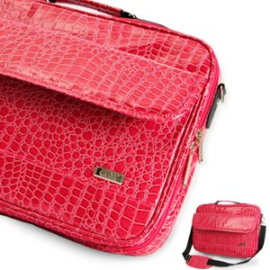 Sac sacoche pc 17 portable motif peau crocodile couleur for Housse ordinateur portable originale