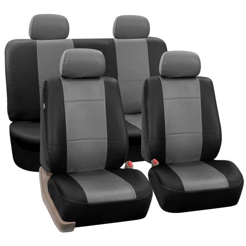 FH-PU002-1114 Classic Exquisite Leather Car Seat Covers, Airbag compatible and Split Bench, Gray / Black color
