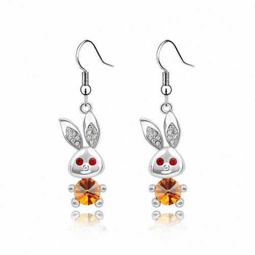 TAOTAOHAS- [ Search Name: Big Ear Rabbit ] (1PAIR) Crystallized Swarovski Elements Austria Crystal Earrings, Made of Alloy Plated with 18K True Platinum / White Gold and Czech Rhinestone