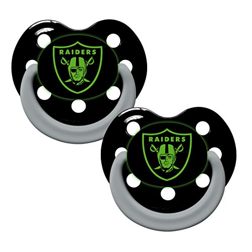 Oakland Raiders Glow in Dark 2-Pack Baby Pacifier Set - NFL Infant Pacifiers