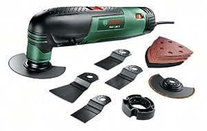 """Bosch Outil multifonction """"Universal"""" PMF 190 E Set avec coffret, 7 accessoires et 1 set de feuilles abrasives 0603100501"""