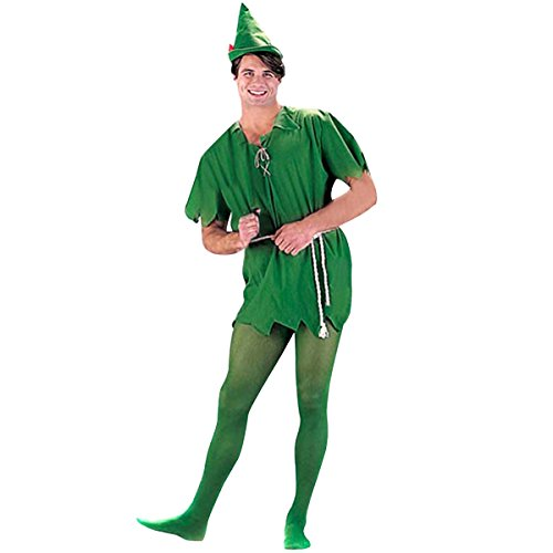 Quesera Unisex Peter Pan Costume Cosplay Peter Pan Tunic Adult Christmas Costume, Green, XS-L (Peter Pan Tunic compare prices)