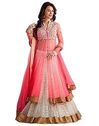 Bikaw Womens Net Lehenga Choli (RS_S.S._SF378_Pink_Free Size)