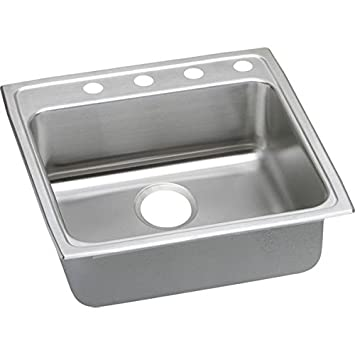 Elkay LRAD2222653 3-Hole Gourmet Lustertone 22-Inch x 22-Inch Single Basin Top-Mount Stainless Steel Kitchen Sink