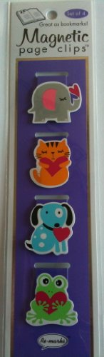 Animal Hugs and Hearts Illustrated Magnetic Page Clips Set of 4 By Re marks