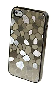 GO IC512 Marble Texture Protective Hard Case for iPhone 4/4S - 1 Pack - Retail Packaging - Silver