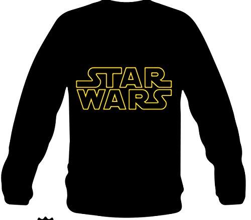 """Monkey Design - FELPA con scritta e logo """"STAR WARS"""" nera, taglia: M, per uomo"""