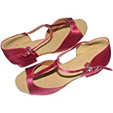 Colorfulworldstore T fonts Wine red satin Child Girls Latin Dance Shoes-Wine red(EU28~EU35)