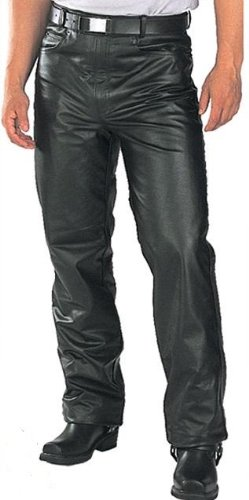Classic Fitted (biker motorcycle or Casual) Men's Leather Pants Trousers