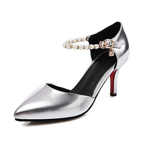 moda punta luce/[bene Hollow con le scarpe]/Perla strass fibbia tacco scarpe e isolanti scarpe con stiletto-A Longitud del pie=22.3CM(8.8Inch)