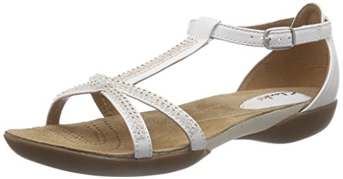 Clarks - Raffi Star, Sandalo da donna, bianco (white leather), 41