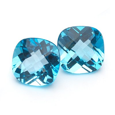 2.77-4.03 Cts of AA 7 mm Cushion Checker Board Loose Swiss Blue Topaz ( 2 pcs ) Gemstones