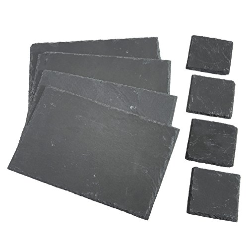 VonShef 8 Piece Set 4 x Placemats, 4 x Coasters, Natural Slate