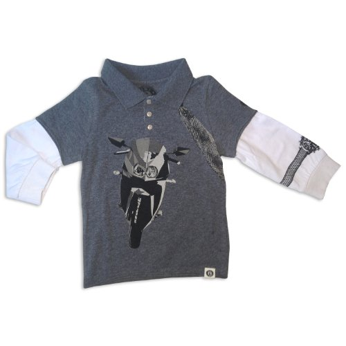 Mini Shatsu Flying Tie Sport Bike Polo Tee-4T-Grey front-187306