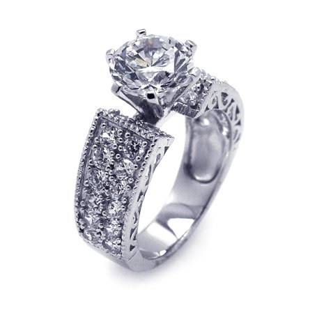 Everything She Will Ever Want You Will Find In This Engagement Set,Engagement ring Features a Double Row of Round Cut Side Stones and a Six Prong Round Cut Center Stones, Includes Gift Box and Pouch (9)