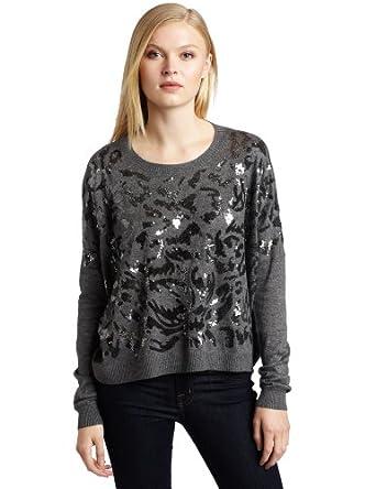 Nicole Miller Women's Long Sleeve Sequin Sweater, Heather Grey, Petite