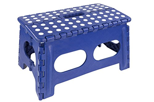 buy Home Basics Kids Folding Stool with Non-Slip Dots (Wide, Blue) for sale