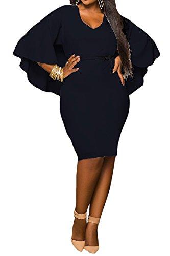 LaSuiveur Women's Batwing Sleeve V-neck Solid Bodycon Plus Size Dress XXL Black