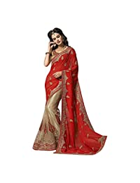 Cream And Red Georgette And Soft Net Designer Party Wear Saree