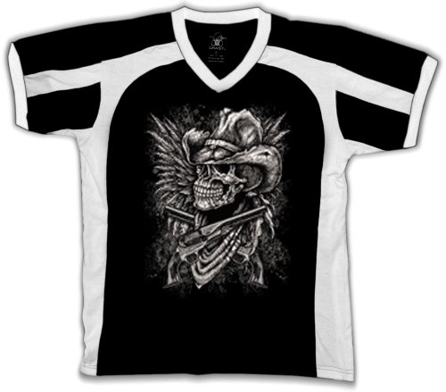 Outlaw Cowboy Skull With Pistols Mens Sports T-Shirt, Skull Guns And Bandana Sport Shirt, Large, Black/White