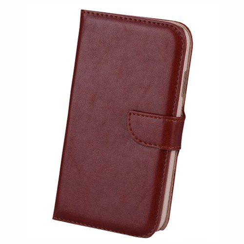 Meaci Samsung Galaxy S4 I9500 Folio Case With Kickstand Credit/Id Card Holder Wallet Pu Leather Material Cover Magnetic Buckle (Brown)
