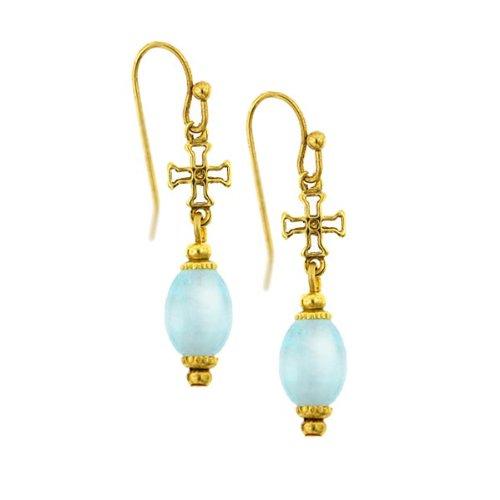 Petite Cross Venetian Glass Beaded Earrings