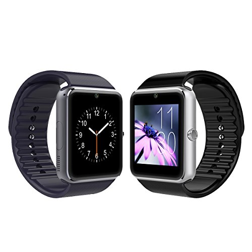 Sunflower Gt08 Bluetooth Smart Watch with Camera and Sweatproof Wristwatch Phone for Android and IOS Smartphone (Silver)
