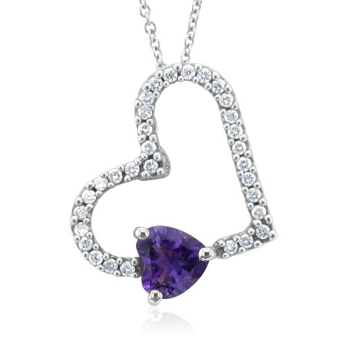 Certified 14k Gold Heart Natural Diamond and Amethyst Necklace - 1.00 cttw