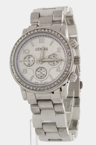 Chic Chelsea Crystal Bezel Fashion Watch (Silver/White)