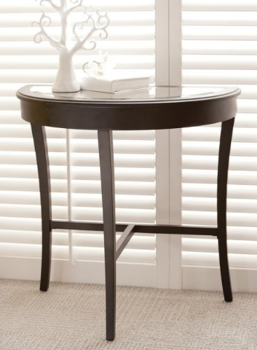 Cheap 30″ Modern Half Moon Beveled Mirror Top Console Wall Table – Matte Black (B002HFBCVC)