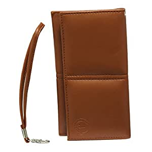Jo Jo A5 G12 Leather Wallet Universal Pouch Cover Case For Huawei Ascend Mate Tan