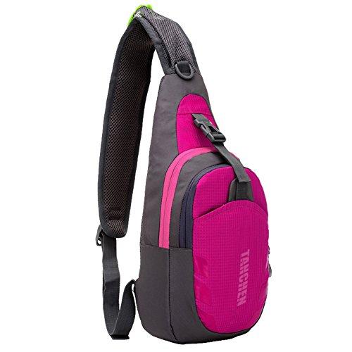 Tanchen Sling Bag Waterproof Sport Chest Pouch Gym Fanny Backpack Shoulder Crossbody Single Shoulder Bag (Rose Red) (Oakley Oakley Dry Goods Pack compare prices)