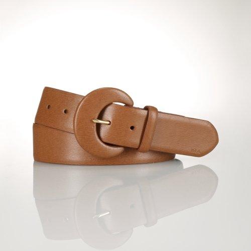 Ralph Lauren Leather C-Buckle Belt (X-Large, Tan)