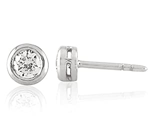 Sparkles 0.4 Cts Diamond Round Shape Earrings in 10KT White Gold (GH Color, SI Clarity)