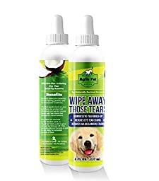 Tear Stain Remover for Dogs and Cats - Natural, Gentle and Soothing Coconut Oil Formula Without Chemicals or Bleach - Cleans Effectively Around Eyes Beard and Paws - Made In USA 8 fl oz