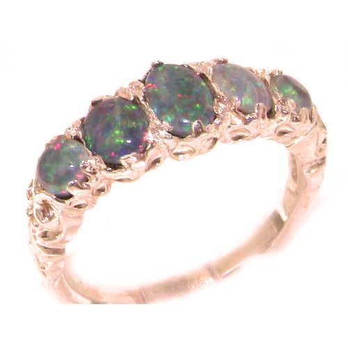 High Quality Solid 9K Rose Gold Fiery Opal English Victorian Ring - Size 8.75 - Finger Sizes 4 to 12 Available