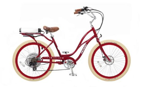 Pedego Step-Through Cruiser Red with Red Rims Tire/Seat Package: Standard