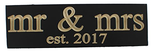 Mr & Mrs. Est 2017 Wedding Decoration Vintage CARVED Wood Sign Handmade Gift or NewlyWed Wall Decor -- SOLID RECLAIMED WOOD - UNIQUE WEDDING GIFT (Black - CARVED))