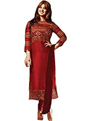 Zbuy Red Cotton Embeoidered Unstitched Salwar Suit Dress Material