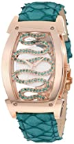 Swisstek SK81901L Limited Edition Swiss Rose-Gold-Plated Watch With Natural Emeralds, Aquatic Leather Strap, Sapphire Crystal And Sapphire Exhibition Caseback