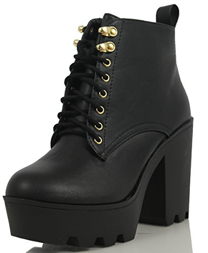 Soda Women's Climate Faux Leather Lace-Up Thick Platform Chunky Heel Lug Ankle Bootie, Black, 7 M US (Platform Shoes Soda compare prices)