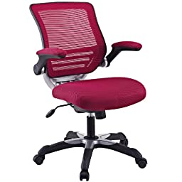 LexMod Edge Office Chair with Burgundy Mesh Back and Mesh Fabric Seat