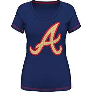 Atlanta Braves Ladies Bold Statement Navy Scoop Neck T-shirt by Majestic