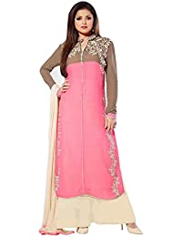 Alethia Pink & Cream Color Party Wear Embroidered Georgette Semi-Stitched Salwar Suit-H54DL83SH