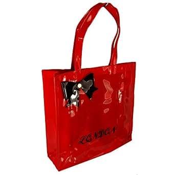 Small Patent PVC Bow Designer London Shopper Tote Bag Red