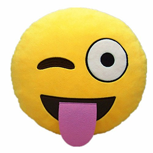 LinTimes Soft Emoji Smiley Emoticon Yellow Round Cushion Pillow, Black Sunglasses by LinTimes